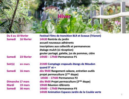 Agenda des animations du Jardin des Voisins